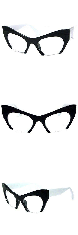 RETRO Hign Bottom Cut Women Cat Frame Clear Lens Eye Glasses BLACK ...