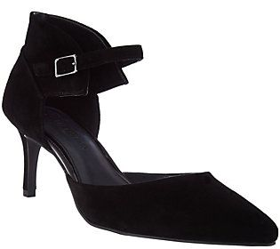 H by Halston Suede Heels with Adjustable Ankle Strap - Laurie
