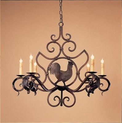 Chandelier Wrought Iron Rooster Medaillon Small Chandelier