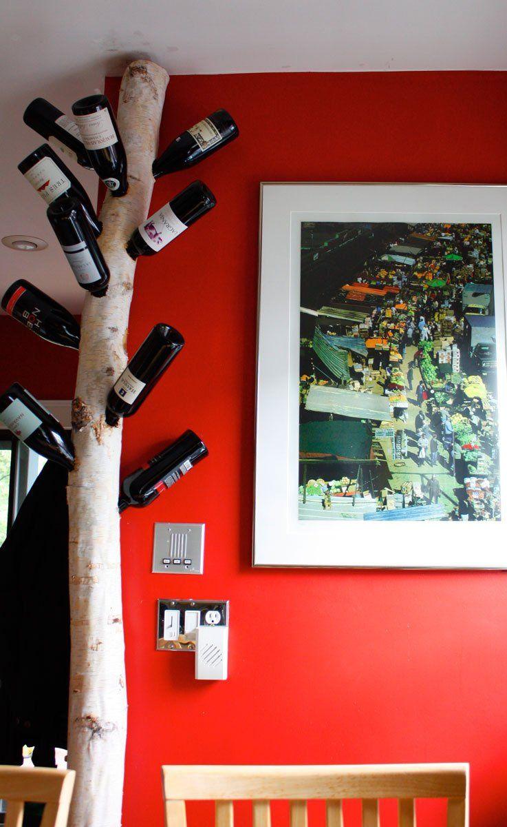 Sarah Amp Craig S Jamaica Plain Treetop Treasure Wine Tree Diy Wine Wine Bottle Trees
