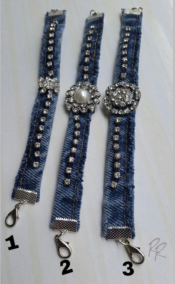 Denim Cuff Bracelet Upcycled Jeans Jewelry By