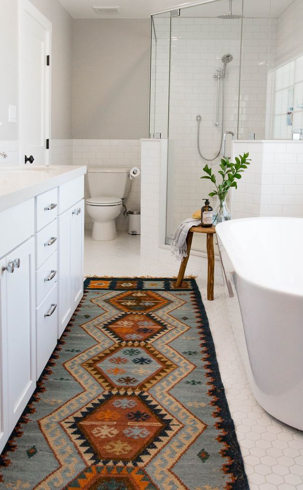 Southwestern Bathroom Rugs With Transitional Also Bohemian Carpet Runner Farmhouse Fixer Upper Hexagon Floor Tile Midcentury Modern Rustic Stool