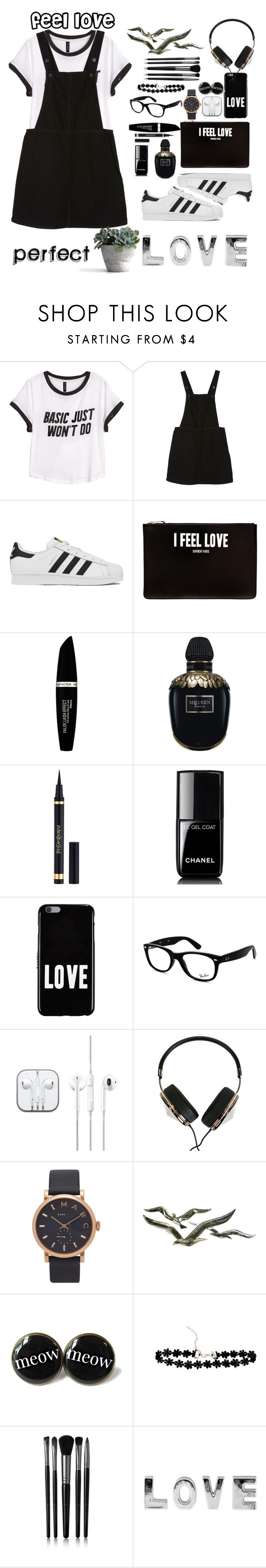 """""""feel the good sides of love♡♡♡"""" by gracekellyho ❤ liked on Polyvore featuring H&M, Monki, adidas, Givenchy, Max Factor, Alexander McQueen, Chanel, Ray-Ban, Frends and Marc Jacobs"""