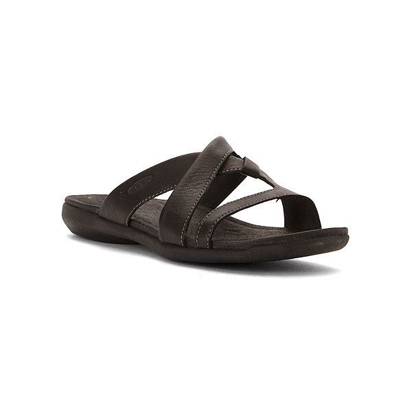 KEEN Rose City Slide Sandals (115 CAD) ❤ liked on Polyvore featuring shoes, sandals, black, women, black slide sandals, rosette shoes, keen footwear shoes, black sandals and slide sandals