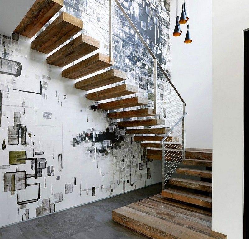 Déco Cage Escalier 50 Intérieurs Modernes Et Contemporains: Escaliers En Bois Intérieur Et Extérieur–idées Sur Les