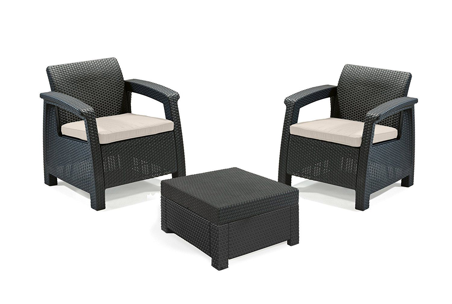 Keter Corfu Outdoor Rattan Balcony Garden Furniture Set 2 Seater - Graphite with Mushroom Cushions  sc 1 st  Pinterest & Keter Corfu Outdoor Rattan Balcony Garden Furniture Set 2 Seater ...