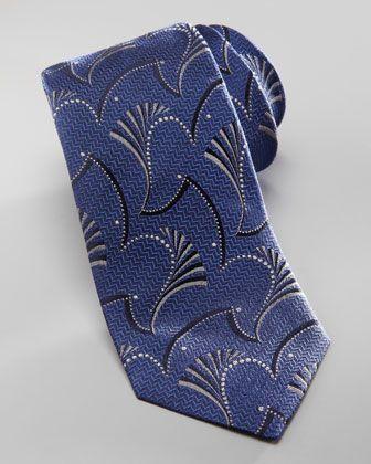 Armani Collezioni Abstract Paisley-Jacquard Tie, Blue - Neiman Marcus