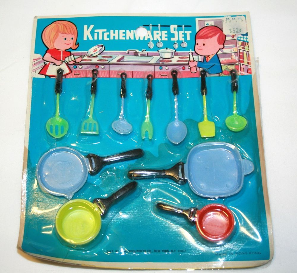 Vintage 1960s F.W. Woolworth Toy Kitchenware Set--NFRP--Super Cute ...