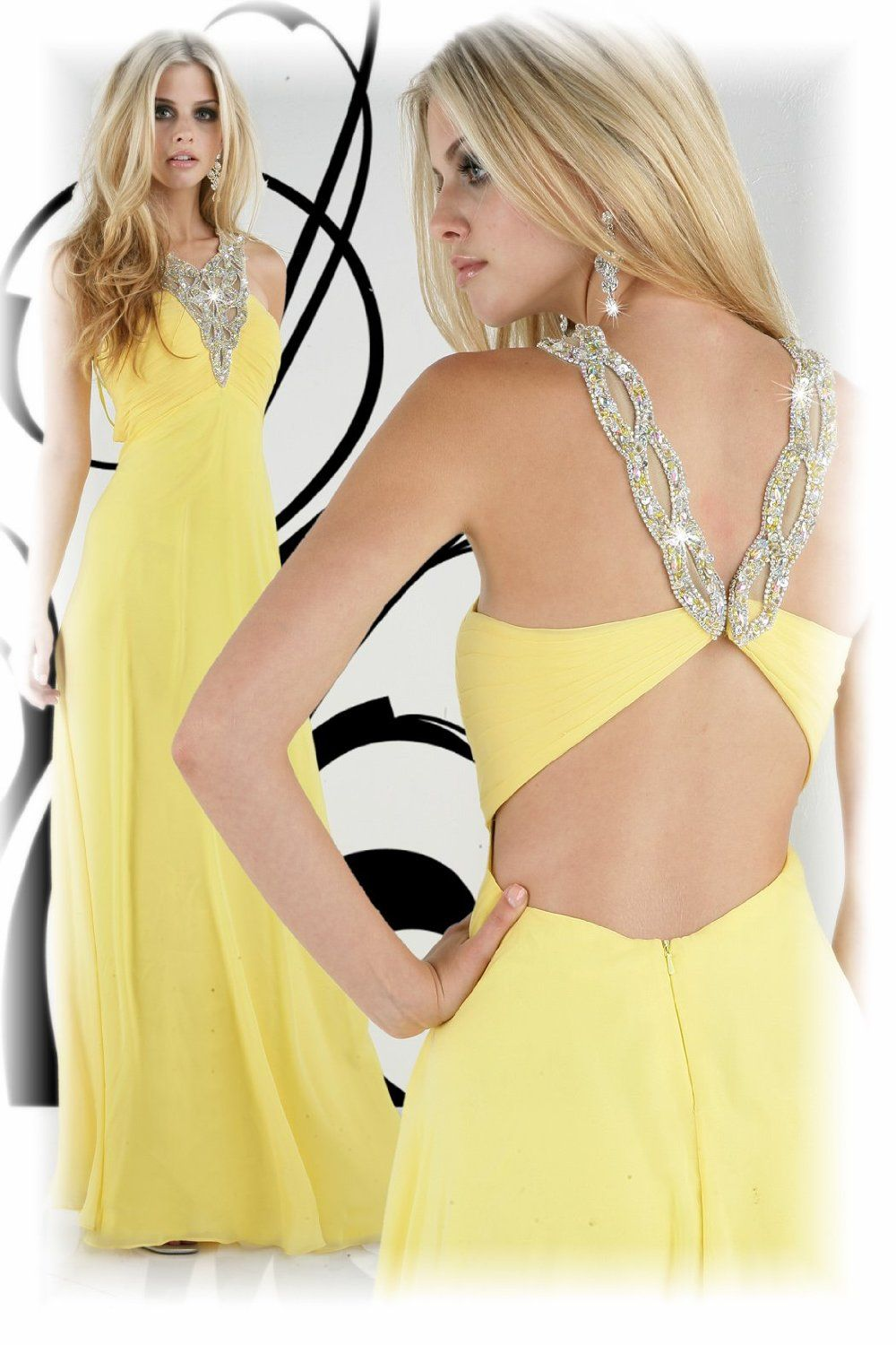 impression xcite yellow chiffon sequin backless full length