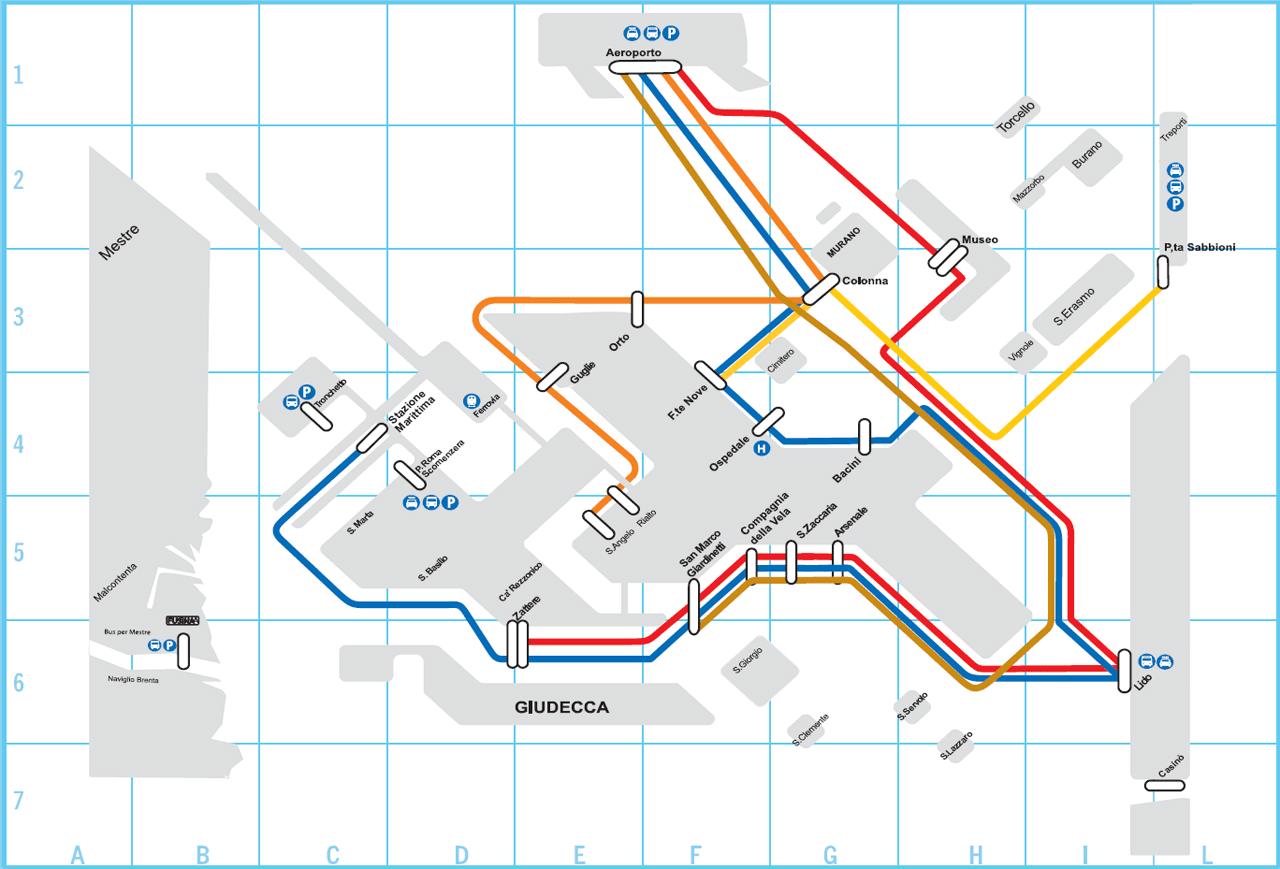 Transport Map of Venice Venice Pinterest