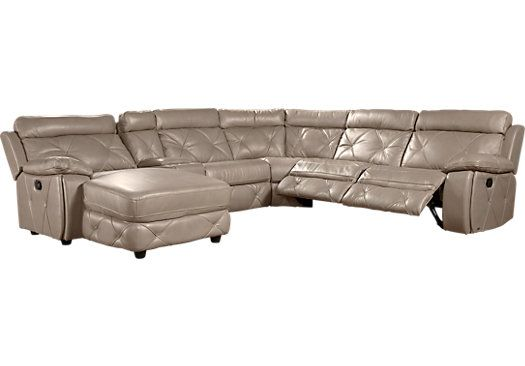 Cindy Crawford Home Wilshire Place Gray Leather 6 Pc Sectional. $2,888.00. 109.5W x 96.5D x 39.5H. Find affordable Sectionals for your home that will complement the rest of your furniture.