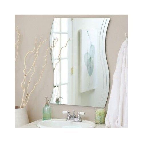 Wavy Bathroom Wall Mirror Contemporary Style Vanity Frameless