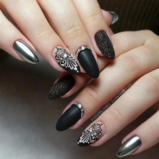Christmas Diy Nail Ideas And More Of Our Manicures From: 30 Totally Cool Black Nails Designs Inspired By Notable