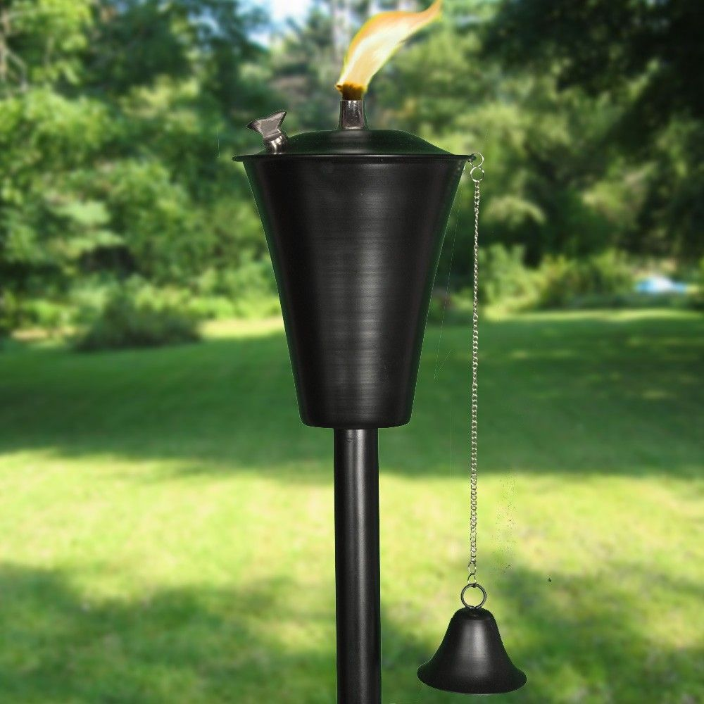 The Ebony Kona Tiki Torch sports a classic Hawaiian design, and will add a vintage tiki touch to your next luau! Crafted of sturdy painted steel, the Ebony Kona is sure to provide outdoor enjoyment for years to come! The Kona torch head can also be used separately as a table top tiki torch.  Ebony Kona Tiki Torch - $49.99