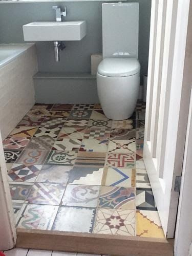 Patterned Bathrooms And Some More Great Pattern Tiled Floors Patchwork Tiles Bathroom Patchwork Tiles Tile Bathroom