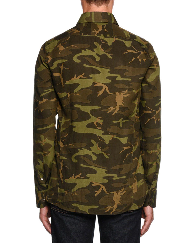 Camouflage Print Sport Shirt Dark Green Products