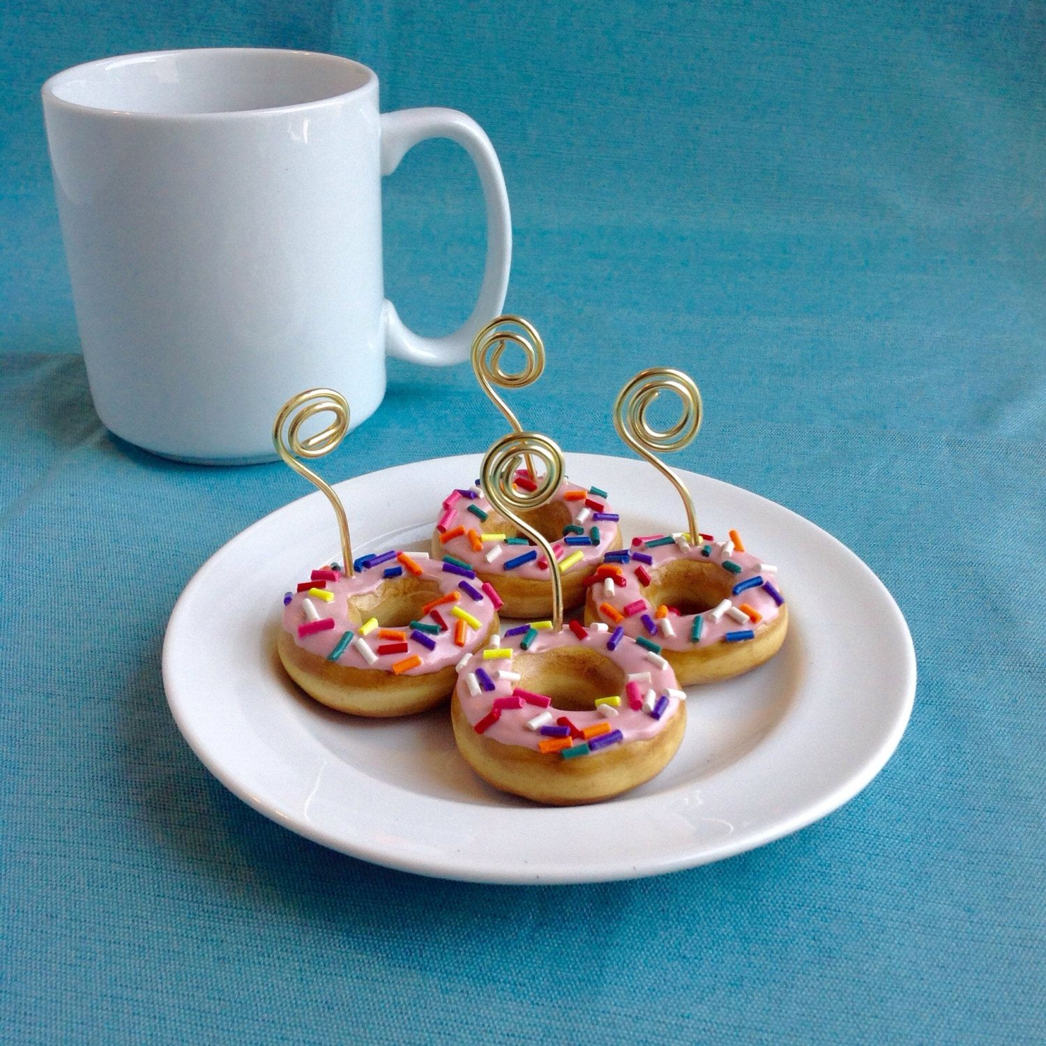 Donut Place Card Holders Coffee Shop Decoration Icing Sprinkles