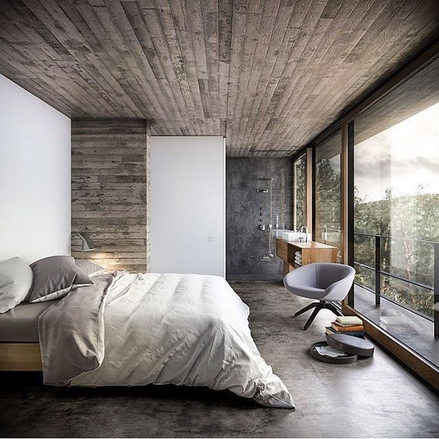 "9,862 Likes, 28 Comments - Architecture & Design Magazine (@d.signers) on Instagram: ""Bedroom Inspiration! House in Nature by Design Raum Architects #d_signers  ________ #design…"""