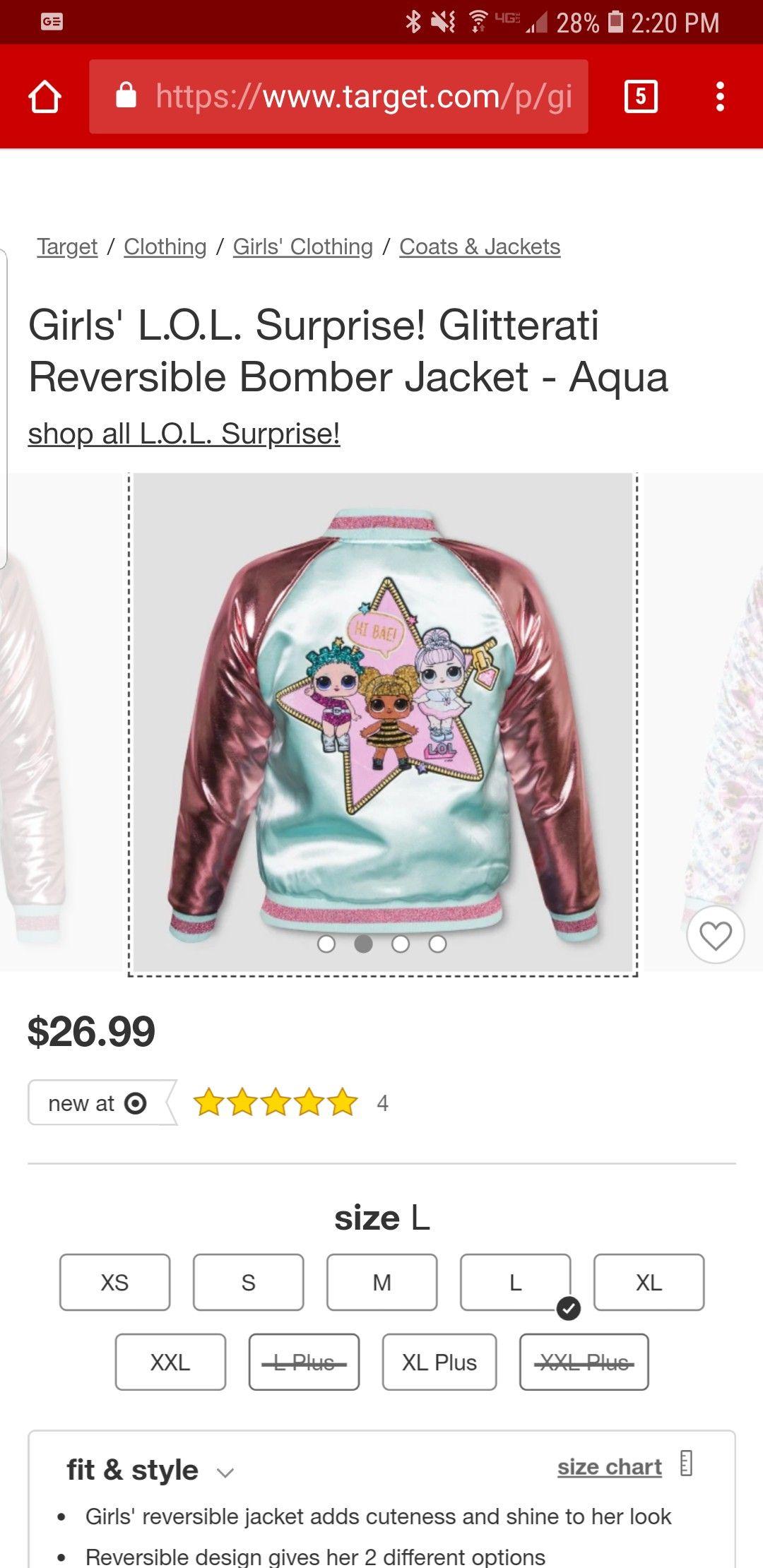 Lol Surprise Doll Bomber Jacket Target Clothes Girls Jacket Reversible Jackets [ 2220 x 1080 Pixel ]