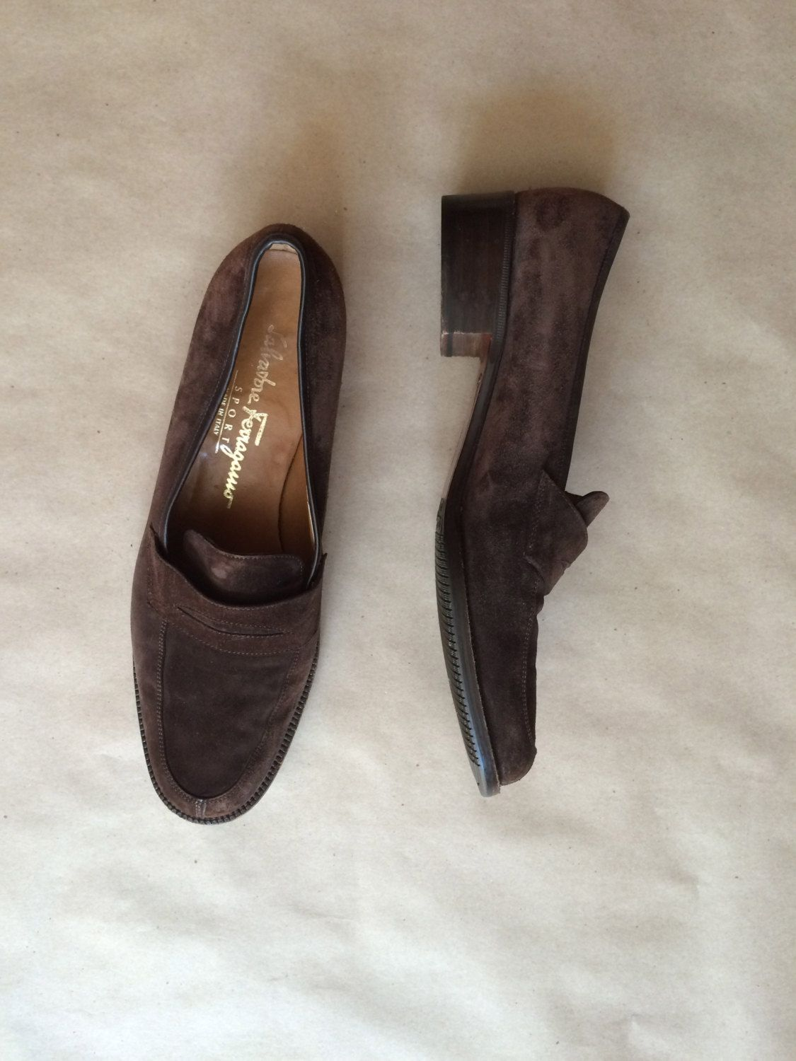 63fd75b0884a7 90's vintage suede Ferragamo loafers / chunky wooden heel ...