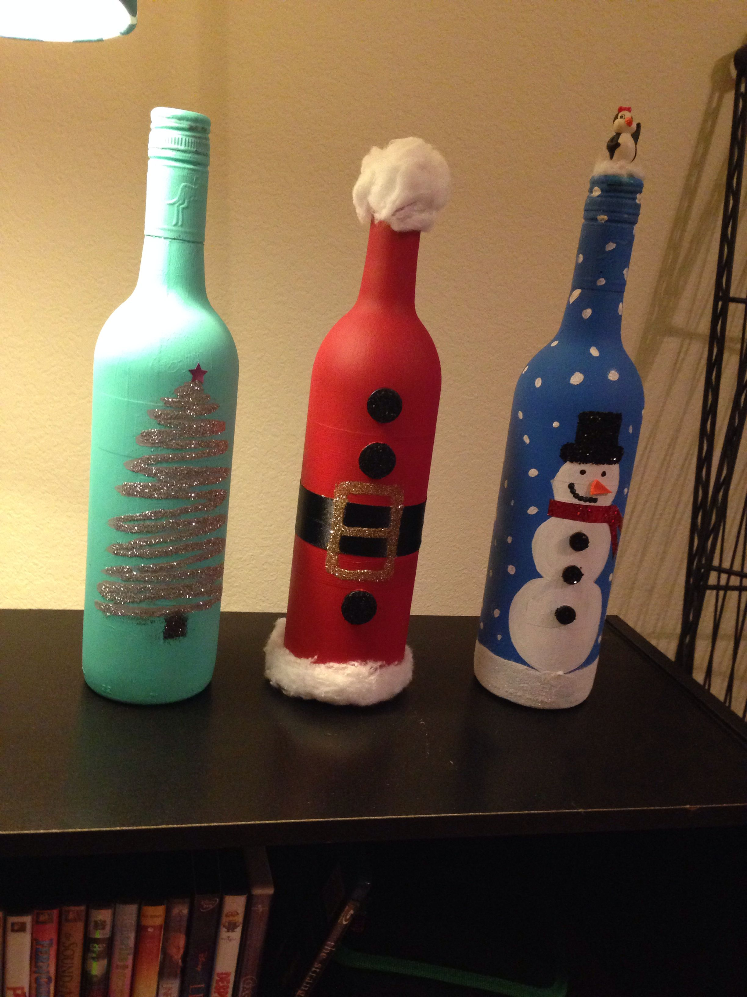 christmas wine bottle decor - Christmas Wine Bottle Decorations