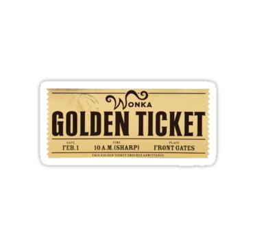 Wonka Golden Ticket Stickers By Rajek Redbubble Pegatinas Laptop Pegatinas Tumblr Pegatinas
