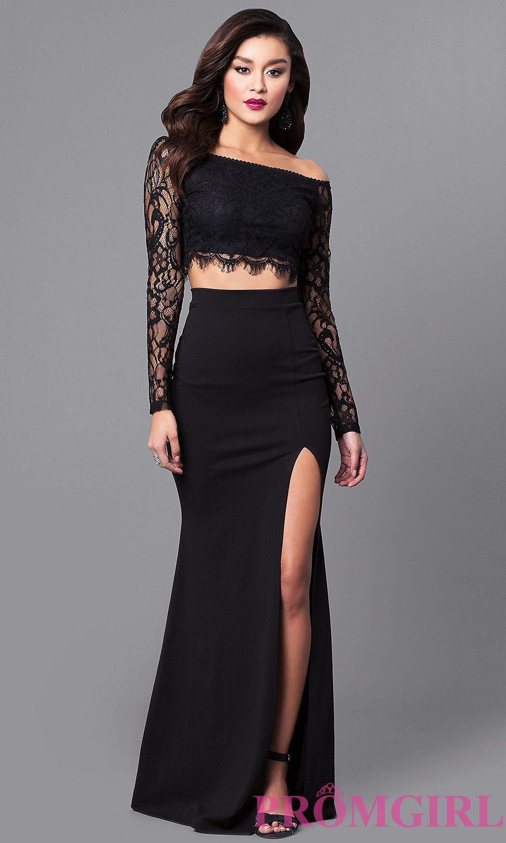 Twopiece lace prom dress with long sheer lace sleeves has an off