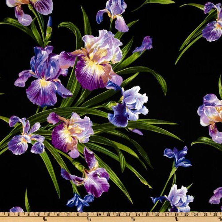 Michael Miller Primavera Iris Black Fabric Designed 100 Cotton By The Yard New Michael Miller Fabric Iris Flowers Fabric Flowers