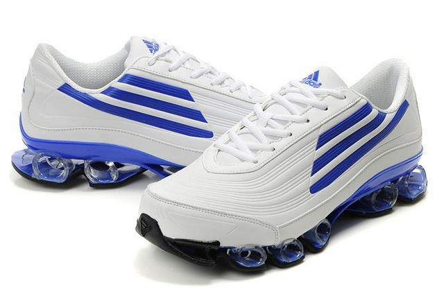 Adidas Bounce Titan Leather Mens White Blue Athletic Running Shoes adidas  microbounce Regular Price: $180.00
