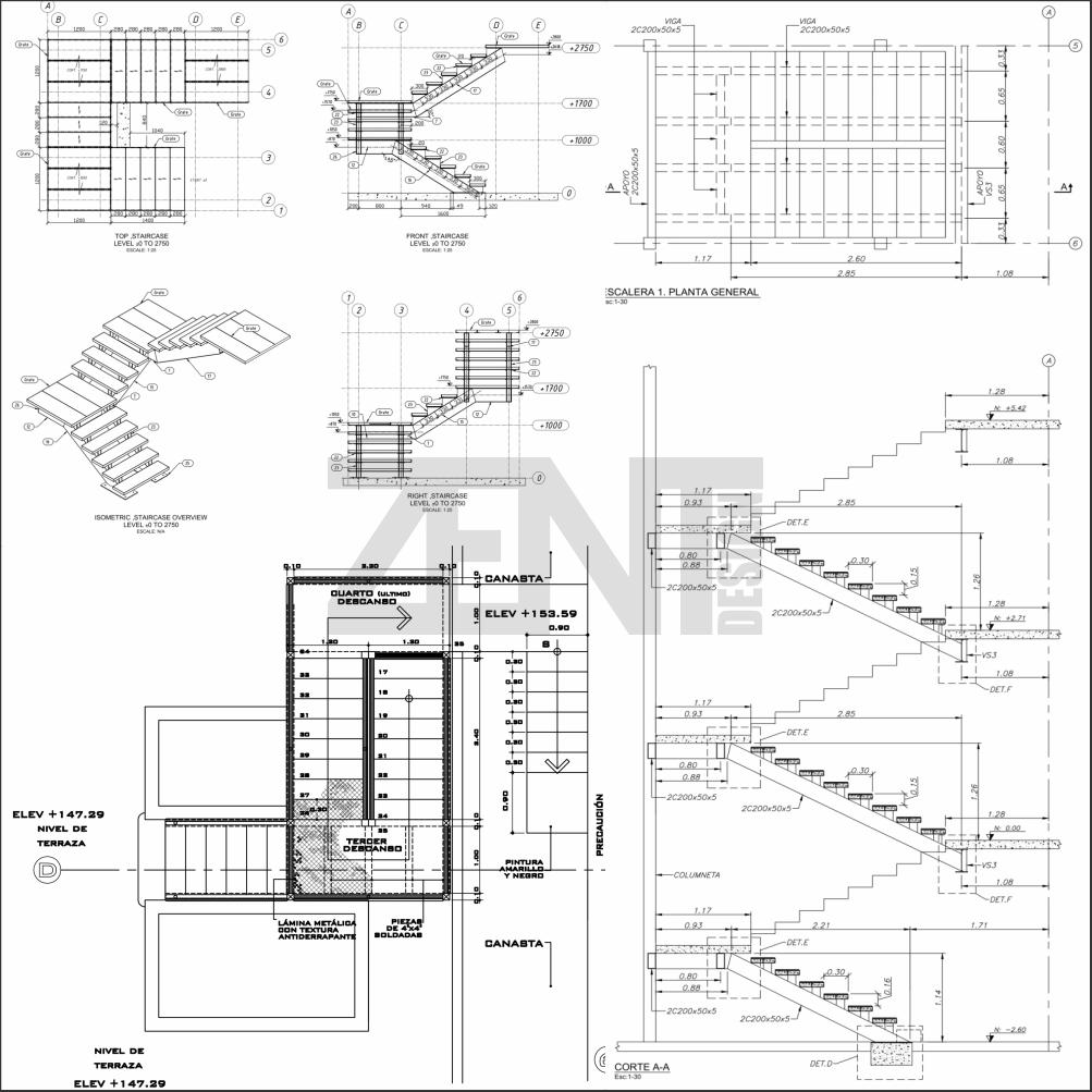 Escaleras metalicas planos metal stairs sanepa for Planos de escaleras de hierro