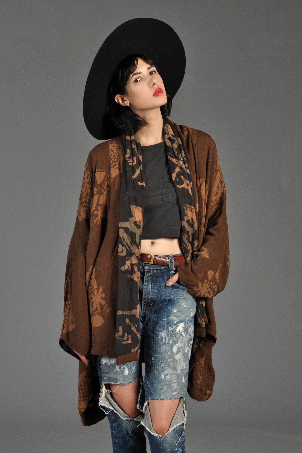 Reversible Floral Batik Draped Kimono Jacket