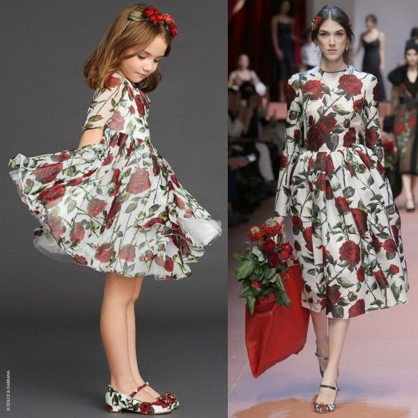 Mini-Me-DOLCE-GABBANA-Red-Rose-Print-Silk-