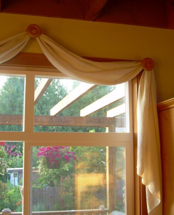Scarf valance window covering organic hemp cotton by for Coverings for bay windows