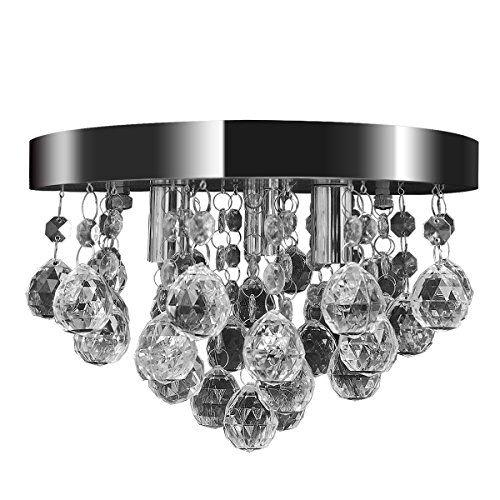 Luxus LED Decken Strahler rund Chrom Acryl Kristall Ess Zimmer Beleuchtung Lampe