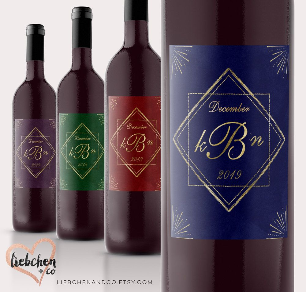 Jewel Tone Geometric Wedding Wine Labels With Faux Gold Accent Monogram Art Deco Winery Wedding Decor Wedding Wine Labels Jewel Tone Wedding Jewel Tones