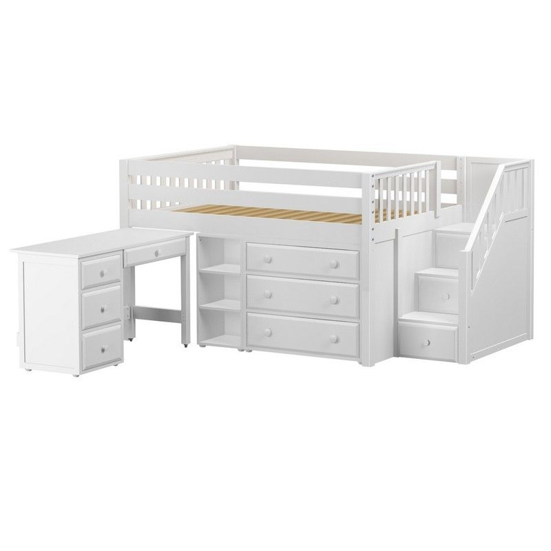 Perfect2 L Or R Ws Low Loft Bed With Staircase Desk 3 Drawer
