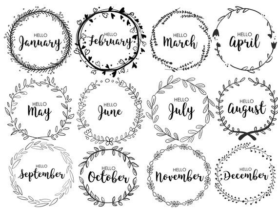 JOURNAL MONTHLY COVERS wreath monthly bullet journal | Etsy