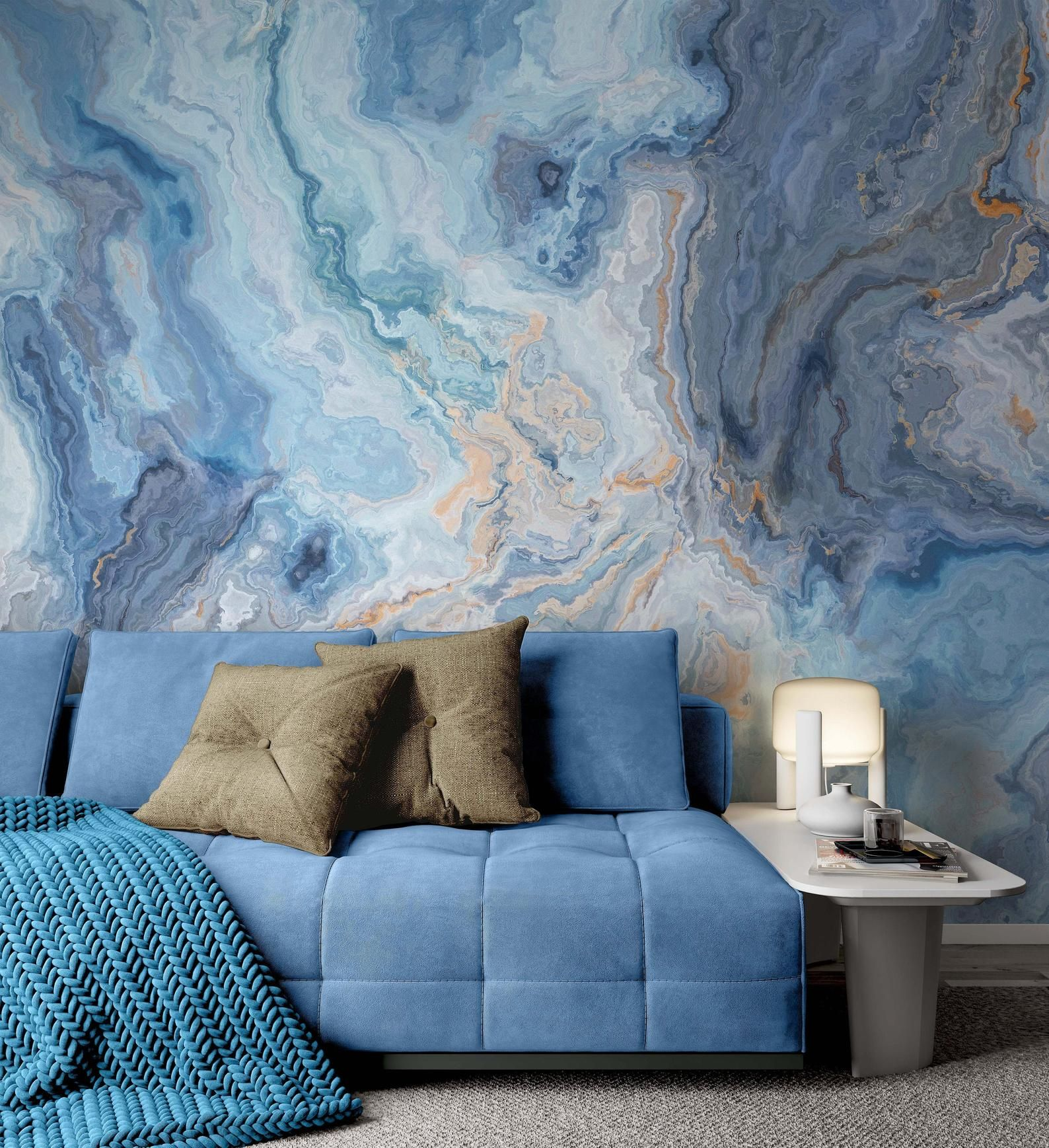 Blue Marble Pattern With Curly Grey And Golden Look Veins Etsy In 2021 Blue Grey Wallpaper Blue Marble Wallpaper Blue Marble