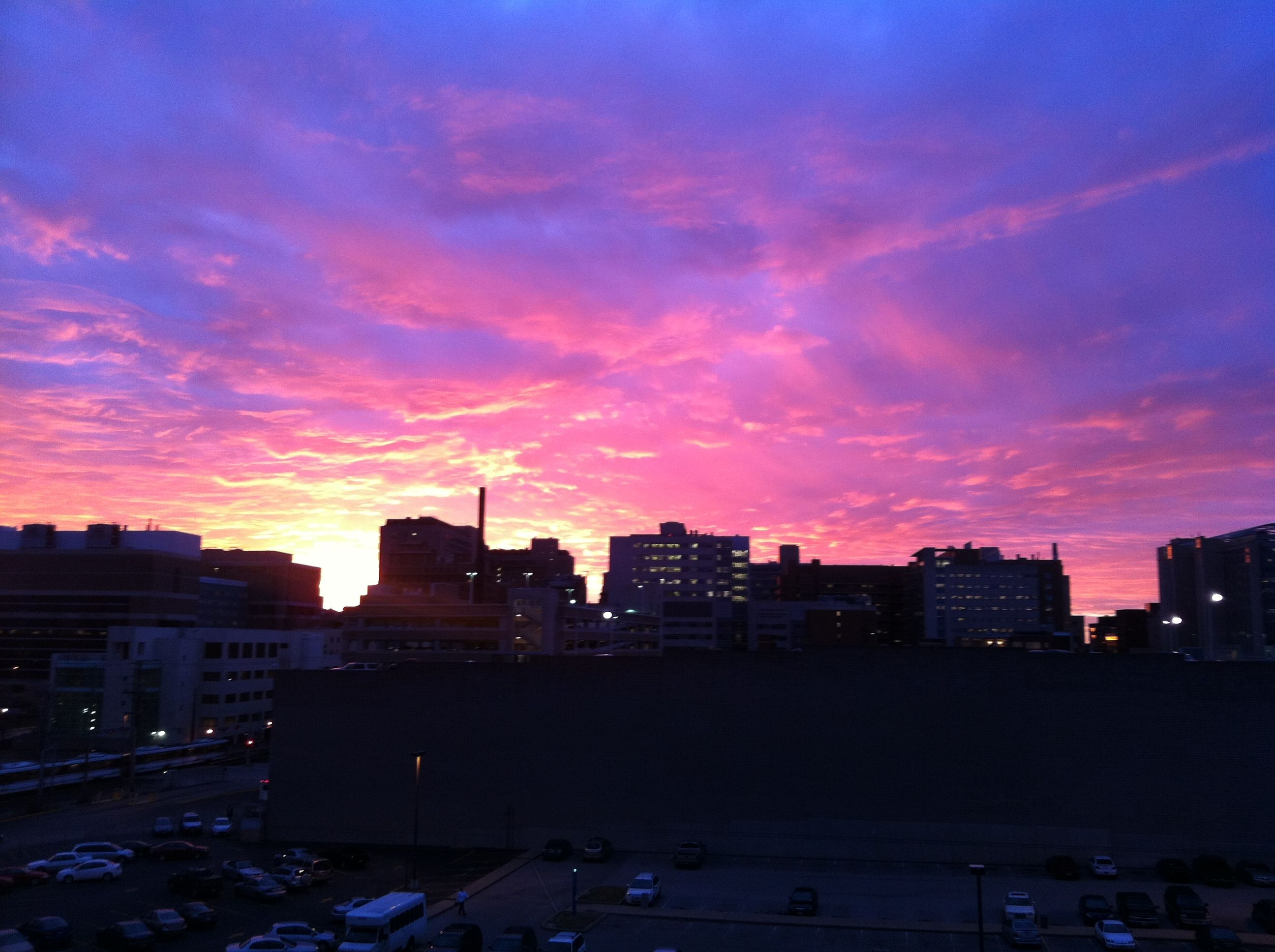 Sunset over BarnesJewish Hospital and Washington