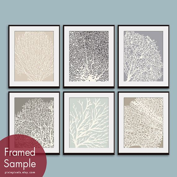 Underwater Sea Coral Collection (Series D) -Set of 6 - 11x14 Prints - Featured in Assorted Colors via Etsy