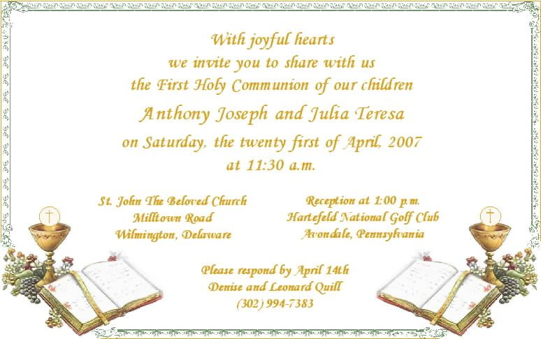 Communion Invitations For Twins First Communion Invitations Communion Invitations Invitation Template