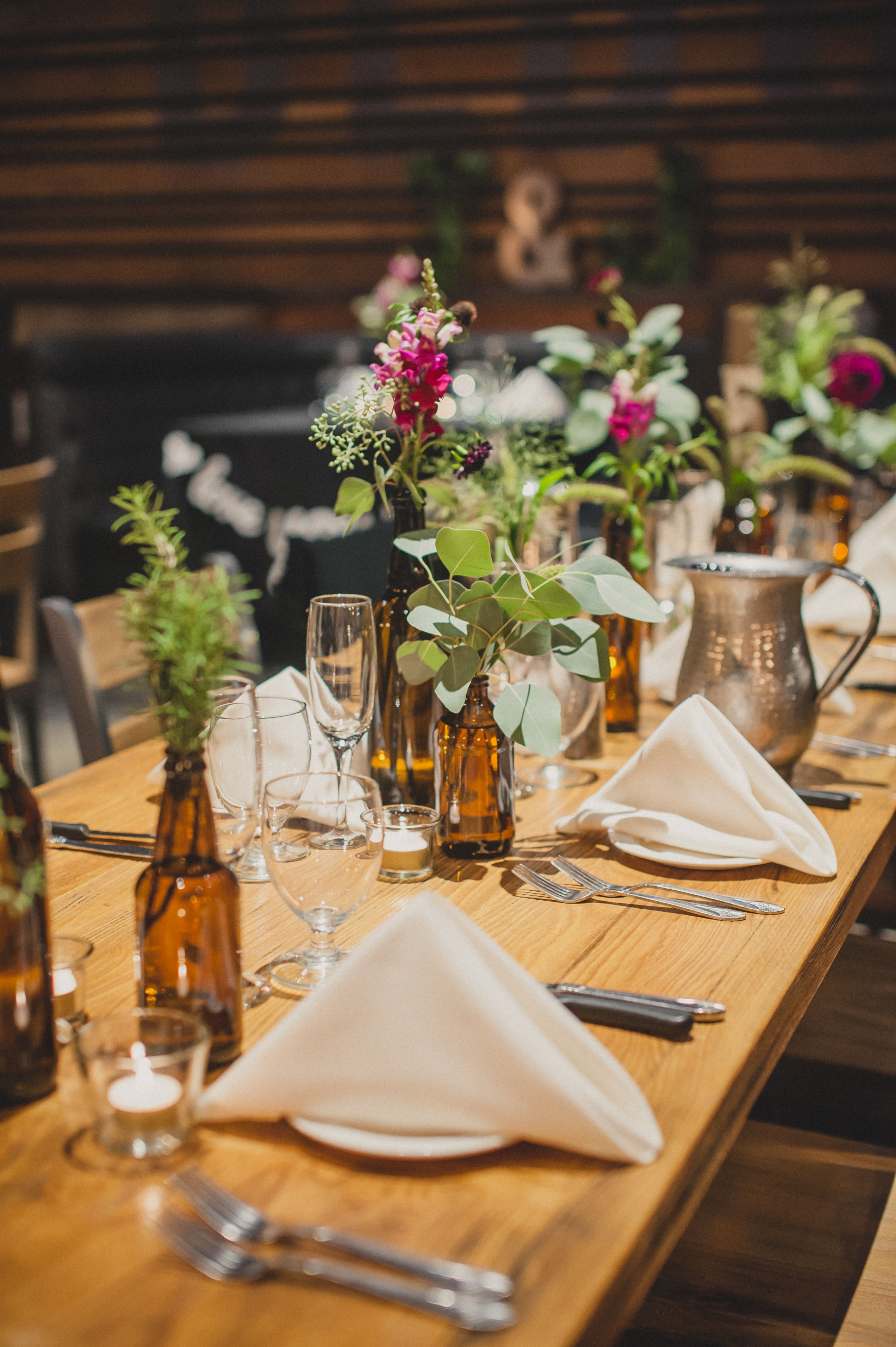 Beer Bottle Wedding Reception Centerpieces And Decor At Karl Strauss Brewery Photo By Next To