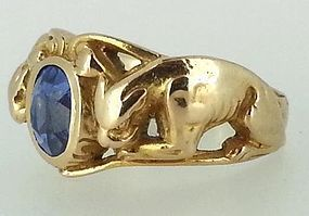 14ct Gold Sapphire Ring with Panthers-Steven Sher Antiques