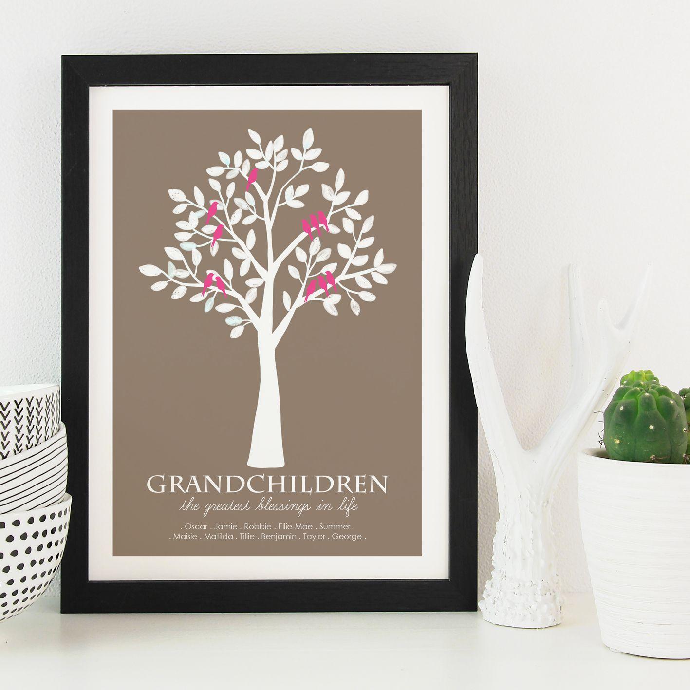 Grandchildren personalised print gift for grandparents
