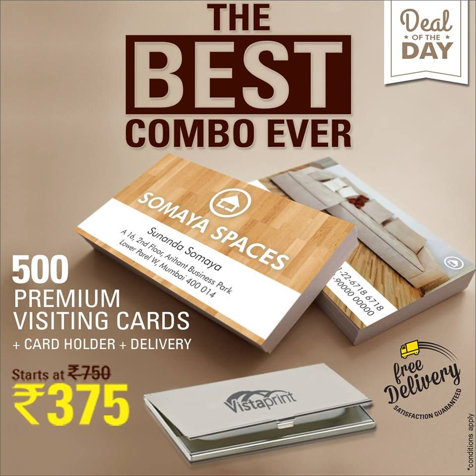 Get 500 Visiting Cards At Rs 375 From Vistaprint Free Designing