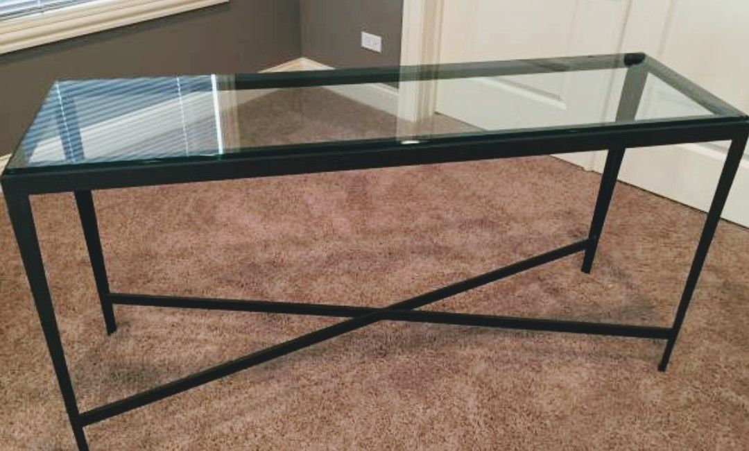 Ethan Allen sofa table metal frame glass top 55x16x30