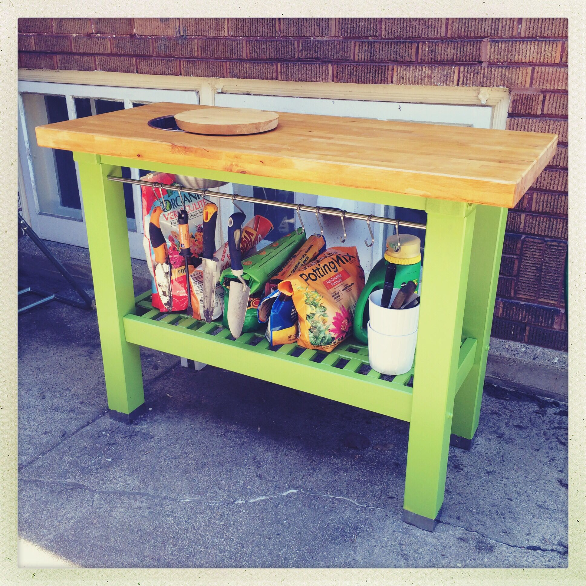 ikea hack potting bench from ikea groland kitchen island exterior