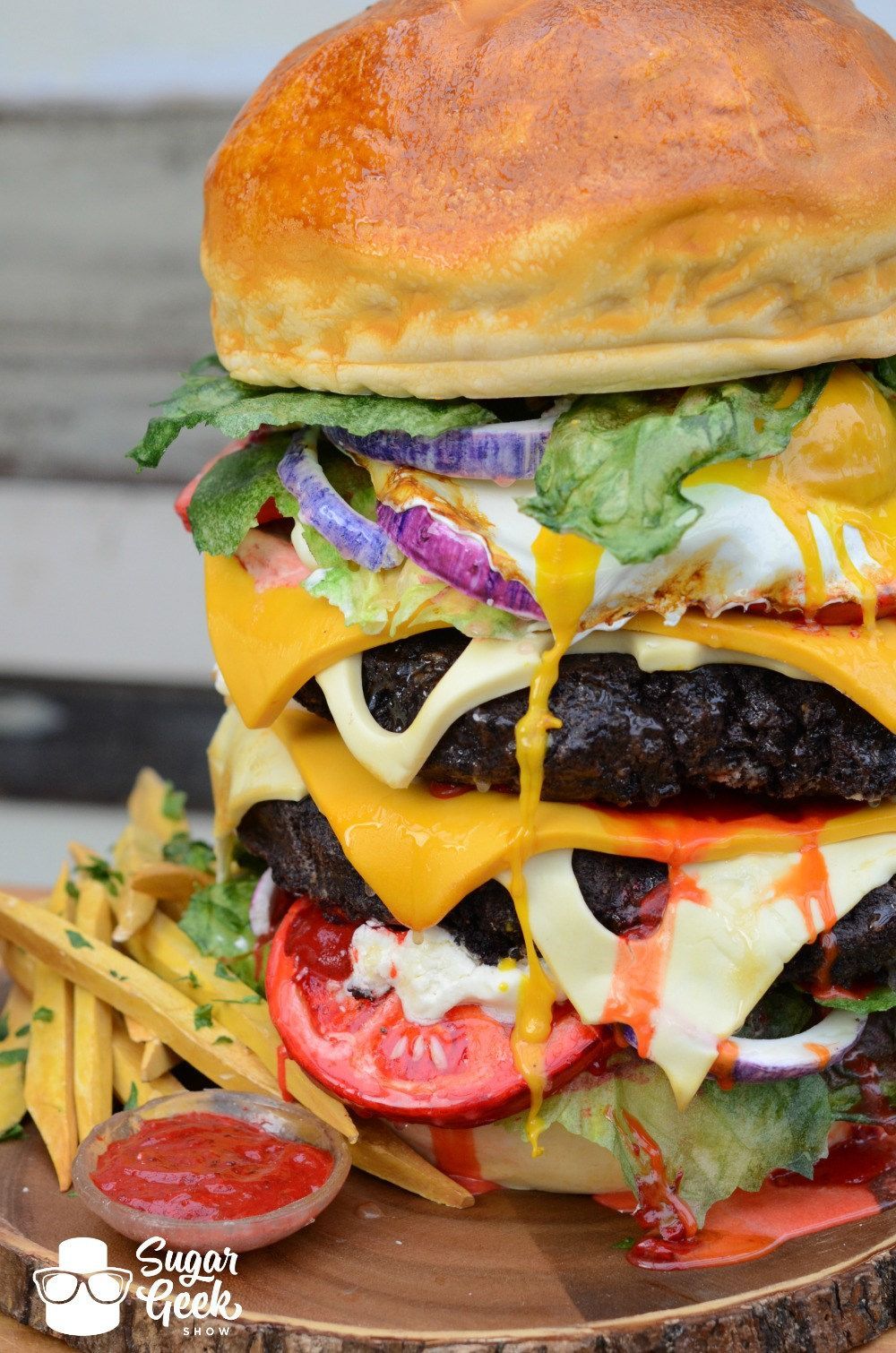 Check out this giant burger thats actually a cake