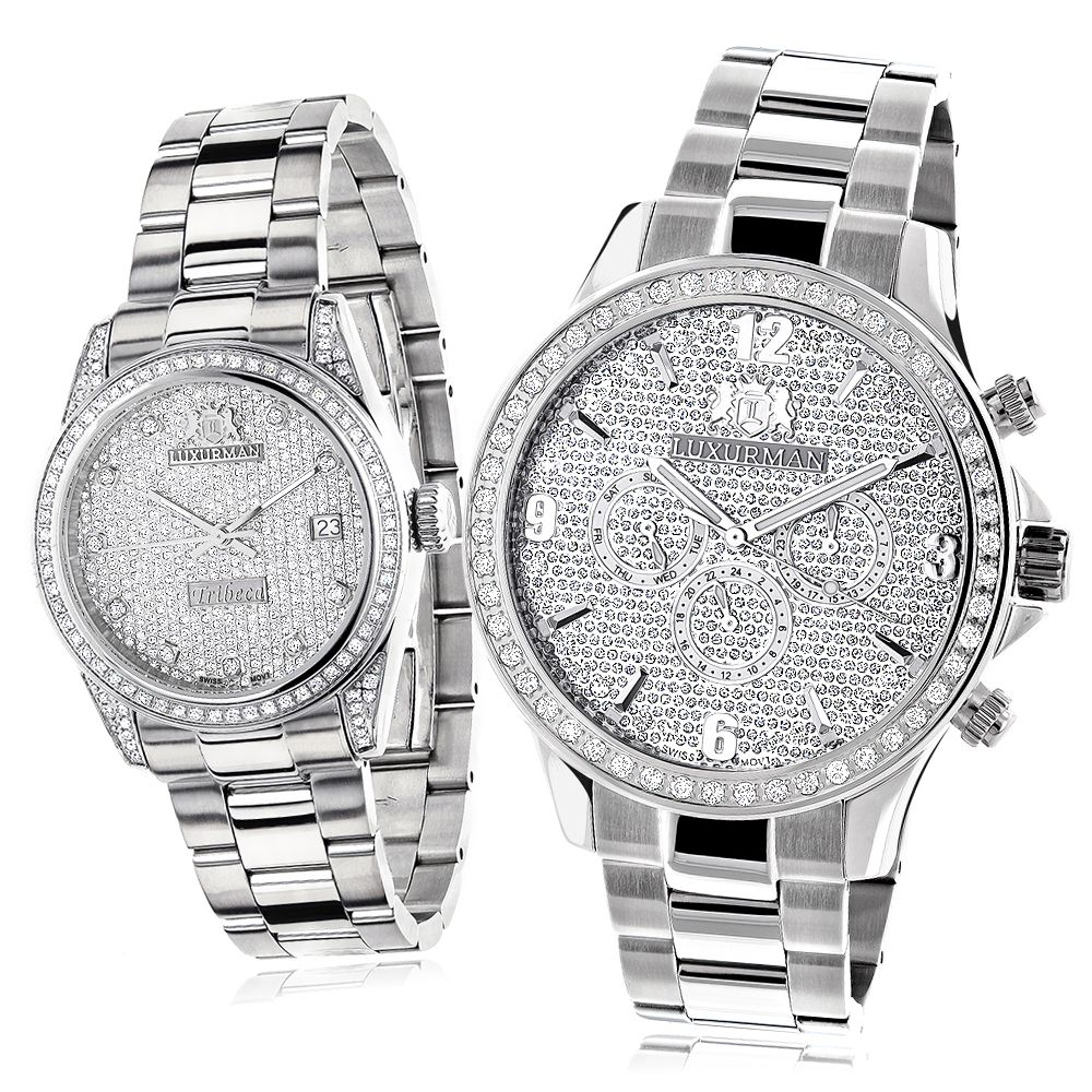 His and Hers Watches Stainless Steel Luxurman Diamond