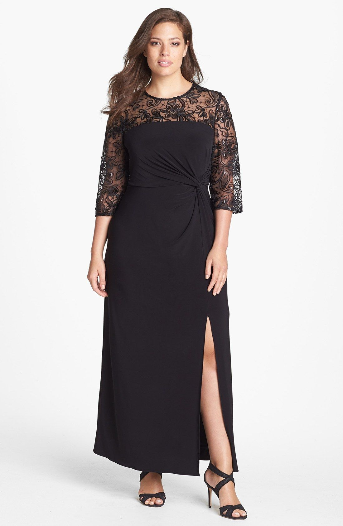 Alex Evenings Lace Sleeve Twist Knot Jersey Gown (Plus Size ...